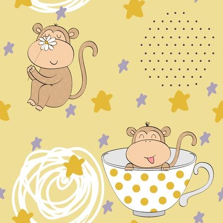 Vector illustration with cartoon monkeys. Seamless pattern Stockfoto - 124358714