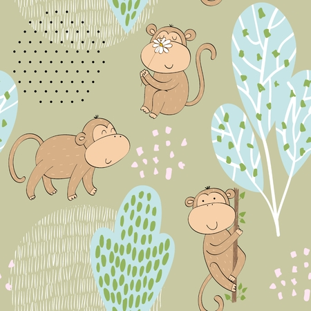 Vector illustration with cartoon monkeys. Seamless pattern Stockfoto - 124358715