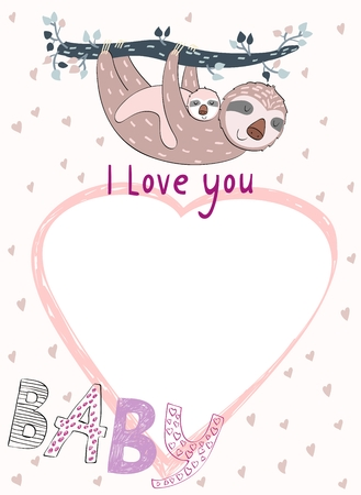 Baby shower card. Vector sloth mom and baby. Stock Illustratie