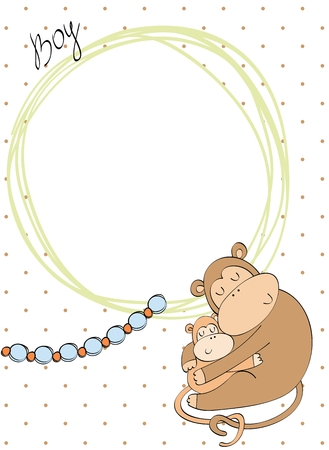 Baby shower cards. Vector monkey mom and baby.