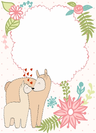 Baby shower cards. Vector lama mom and baby.