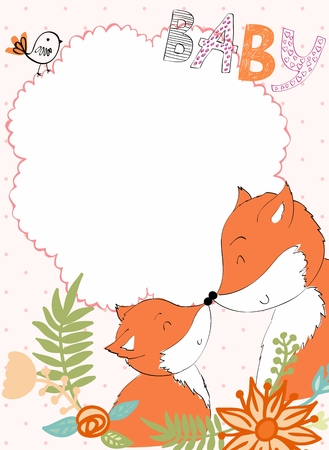 Baby shower card. Vector fox mom and baby