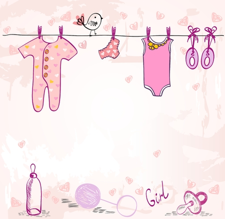 Vector baby shower. Cute card for girl with baby elements. Иллюстрация