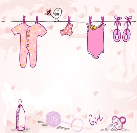 Vektor-Babyparty. Nette Karte für Mädchen mit Babyelementen. Vektorgrafik