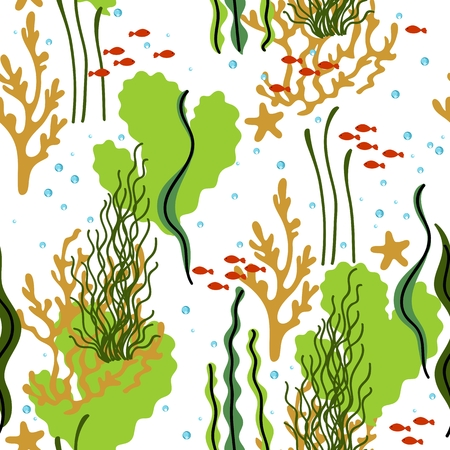 Seamless pattern with coral reef, sea plants and fishes.
