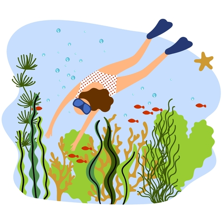 Vector illustration of a woman diving under the sea. Background with coral reef, sea plants and fishes.