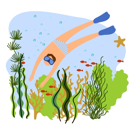 Vector illustration of a man diving under the sea. Background with coral reef, sea plants and fishes. Çizim