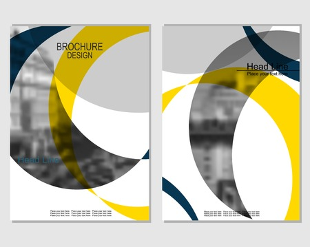 Vector brochure cover templates with blurred cityscape. Business brochure cover design. EPS 10. Mesh background. Stockfoto - 124100738