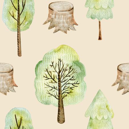 Watercolor forest pattern. 版權商用圖片