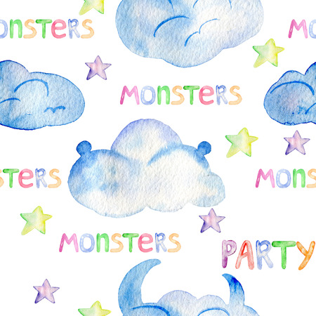 Cute watercolor Monsters 版權商用圖片