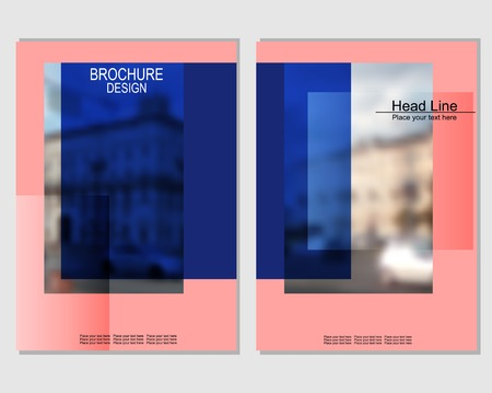 Vector brochure cover templates with blurred cityscape. EPS 10. Mesh background. Stockfoto - 123989886