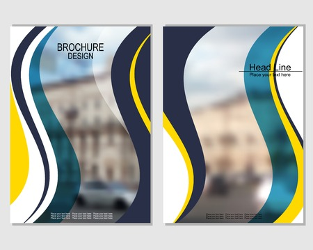 Vector brochure cover templates with blurred cityscape. EPS 10. Mesh background. Иллюстрация