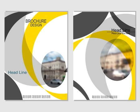 Vector brochure cover templates with blurred cityscape. EPS 10. Mesh background. Stockfoto - 123989890