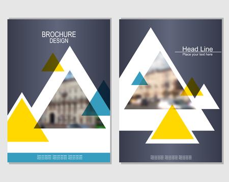 Vector brochure cover templates with blurred cityscape. EPS 10. Mesh background. Ilustracja