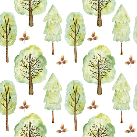 Watercolor forest pattern. Stockfoto