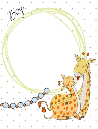 Baby shower cards. Vector elephant mom and baby.