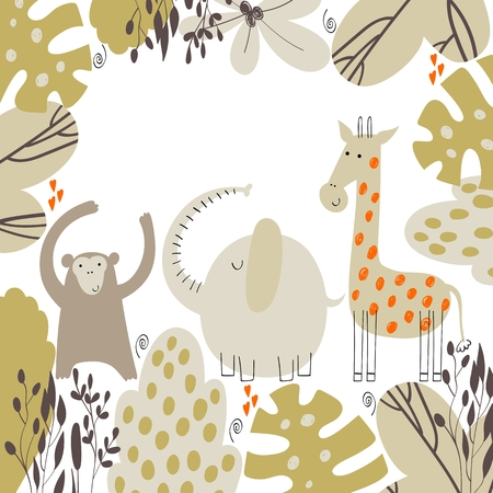 Cute card with hand drawn safari animals and leaves. Stock Illustratie