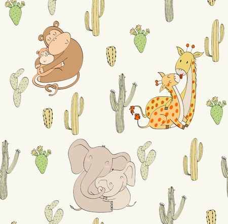 Seamless pattern. Vector animals moms and babies Stockfoto - 123221106