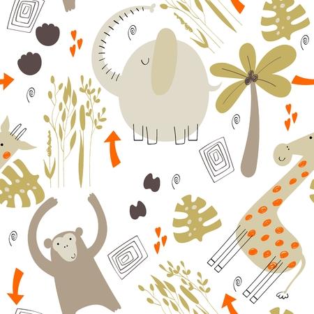 Cute safari animals. Stock Illustratie