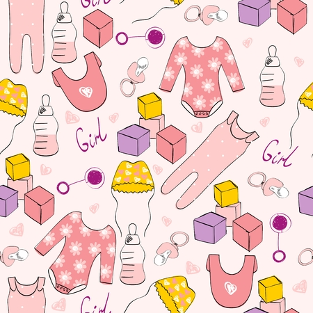 Vector cute seamless pattern for girl with baby elements. Stock Illustratie