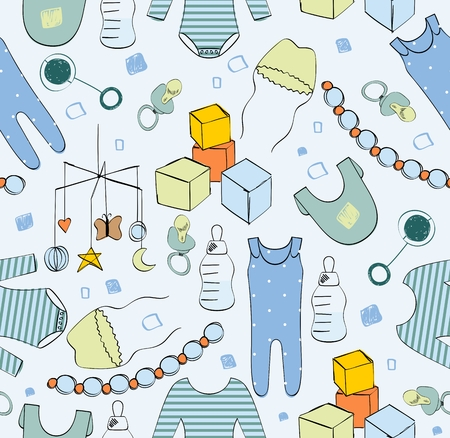Vector cute seamless pattern for boy with baby elements.