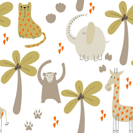 Cute seamless pattern with hand drawn animals. Exotic wallpaper for fabric, wrapping paper , etc Stockfoto - 123221108