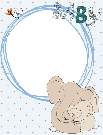 Baby shower card. Vector elephant mom and baby