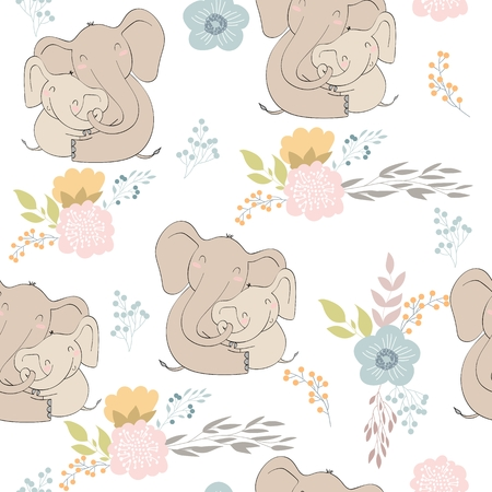Seamless pattern. Vector elephant mom and baby. Stock Illustratie