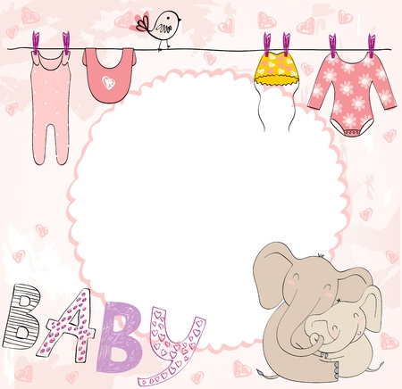 Vector baby shower. Cute card for girl with baby elements. Stockfoto - 123221114