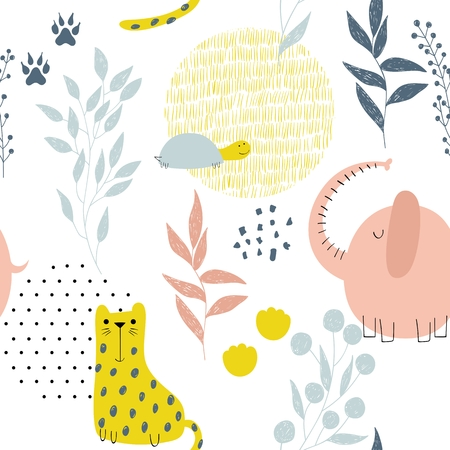 Cute seamless pattern with hand drawn animals. Exotic wallpaper for fabric, wrapping paper , etc Stock Illustratie