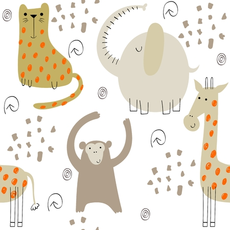 Cute seamless pattern with hand drawn animals. Exotic wallpaper for fabric, wrapping paper , etc Illustration