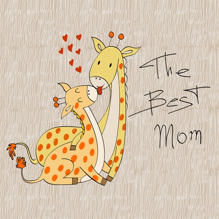 Baby shower cards. Vector giraffe mom and baby