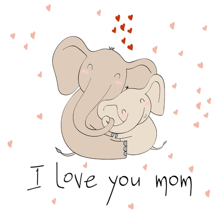 Baby shower cards. Vector elephant mom and baby