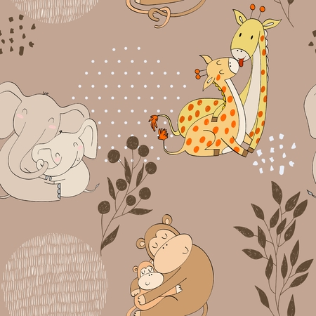 Seamless pattern. Vector animals moms and babies
