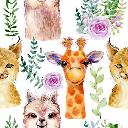 Animals watercolor illustration Foto de archivo - 127735758