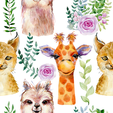Animals watercolor illustration Archivio Fotografico - 127735758