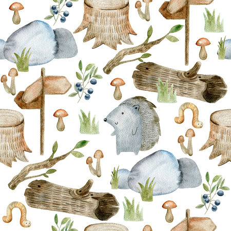 Watercolor forest pattern. Stock Photo