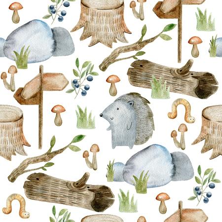 Watercolor forest pattern. Фото со стока