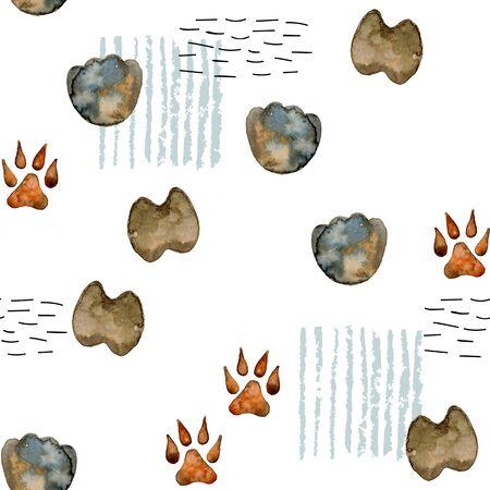 Watercolor footprint animals. Stock Photo