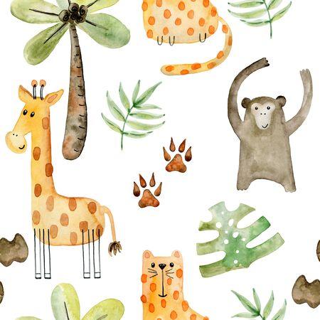 Watercolor safari animals. Фото со стока