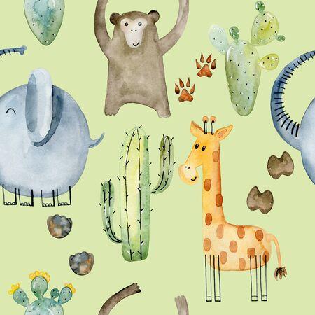 Watercolor safari animals. Stock Photo