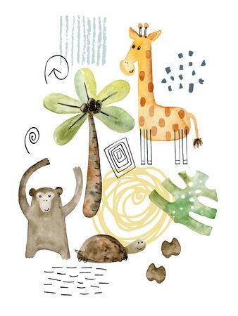 Watercolor safari arrangements. Stock Photo