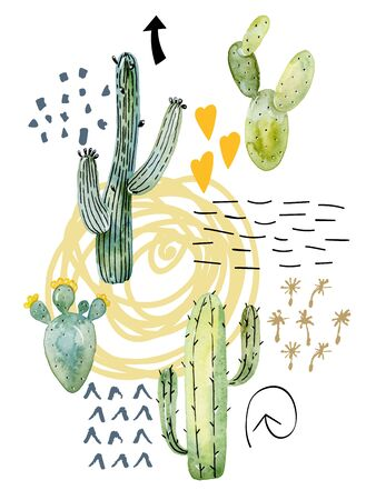 Watercolor cactus arrangements. Фото со стока