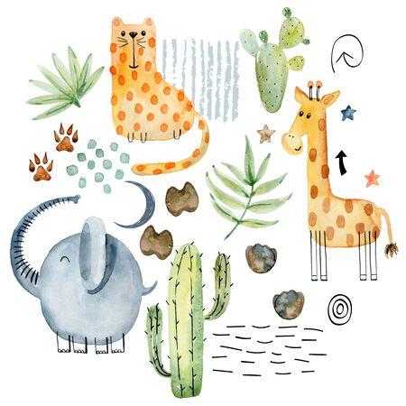 Watercolor safari arrangements. Фото со стока