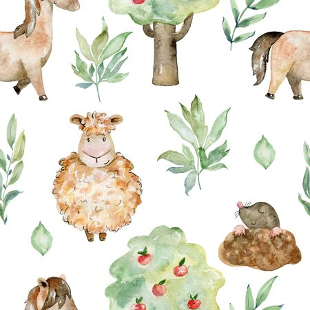 Watercolor farm pattern.