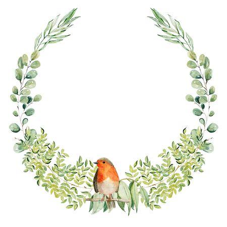 Watercolor sketch wreath