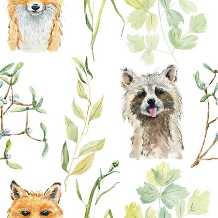 Animals watercolor illustration