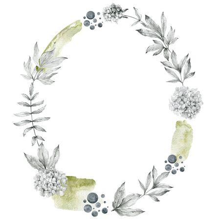 Flower sketch wreath Stock Photo