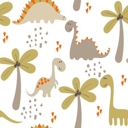 Seamless dinosaur pattern.