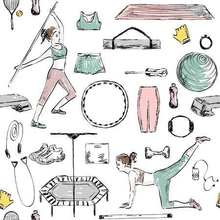 Fitness seamless pattern